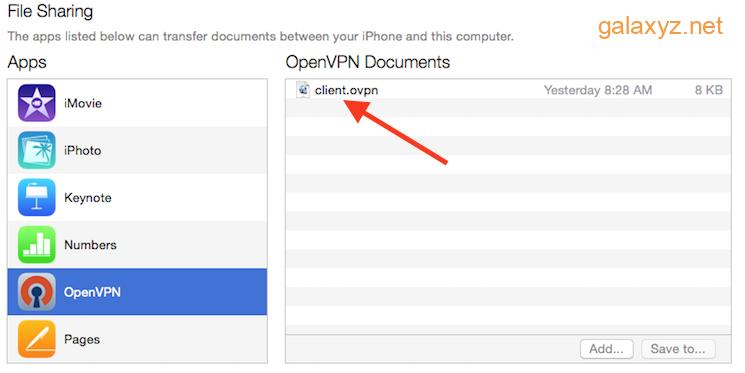 iTunes hiển thị cấu hình VPN đã sẵn sàng để tải trên iPhone