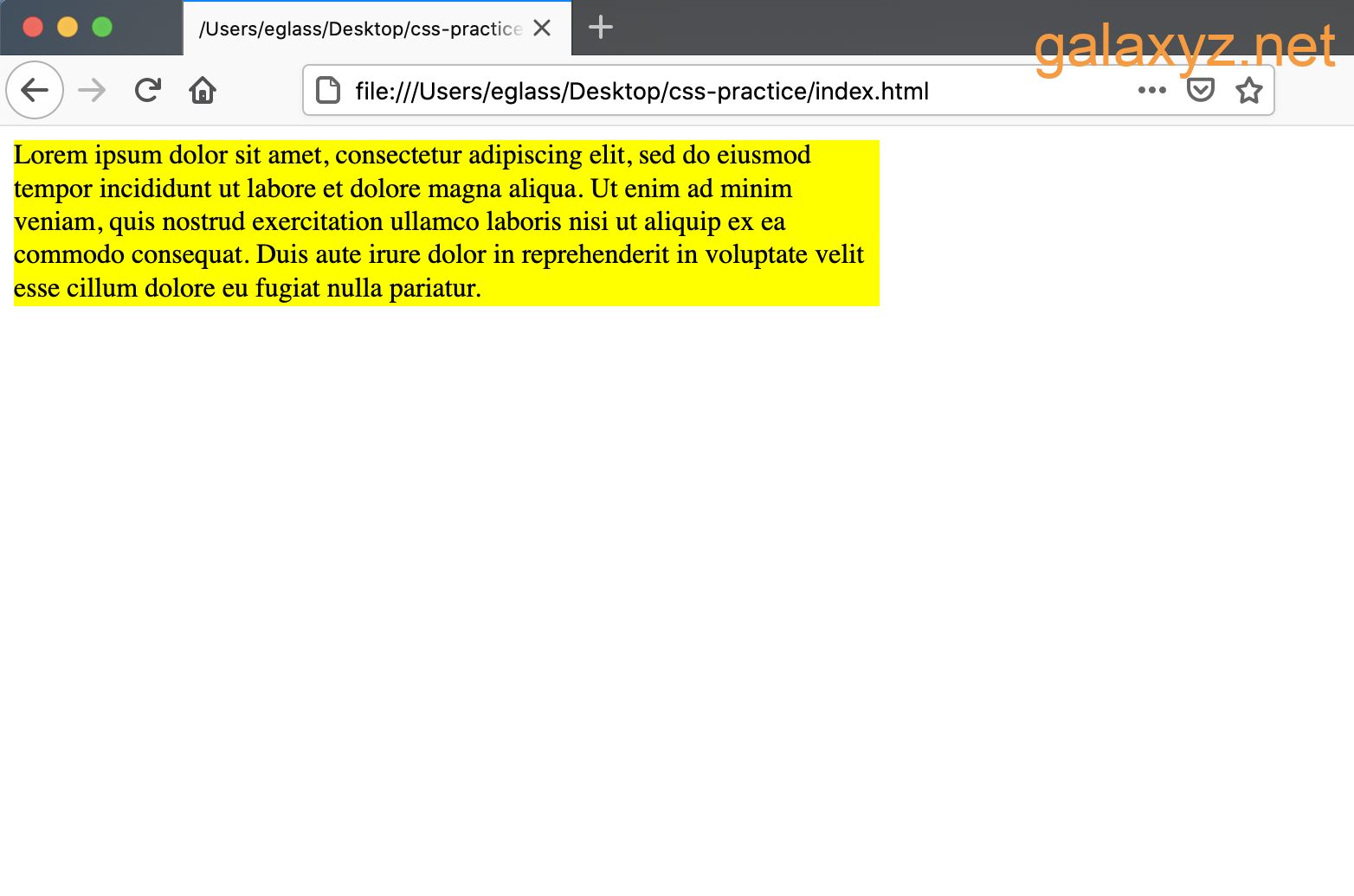 Trang web có containers  văn bản `div` rộng 500 pixel