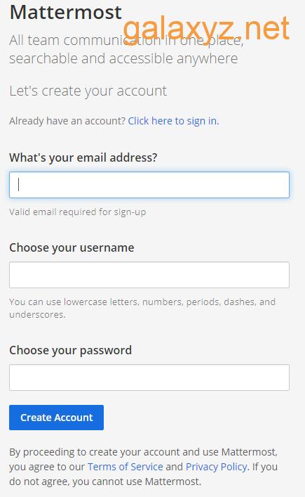 Mattermost -  Dấu nhắc  đăng ký